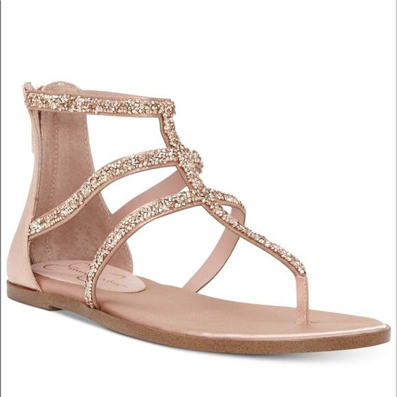 82acec68b Jessica Simpson Shoes - Jessica Simpson Cammie Sparkle Strap Flat Sandal